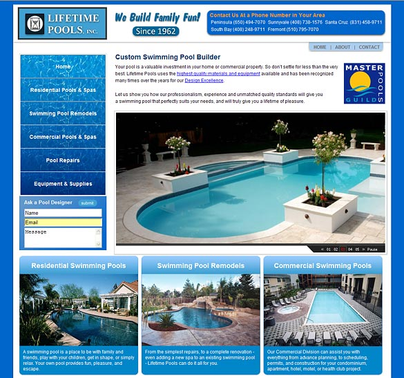 Swimming Pool Constrution Company Website Redesign
