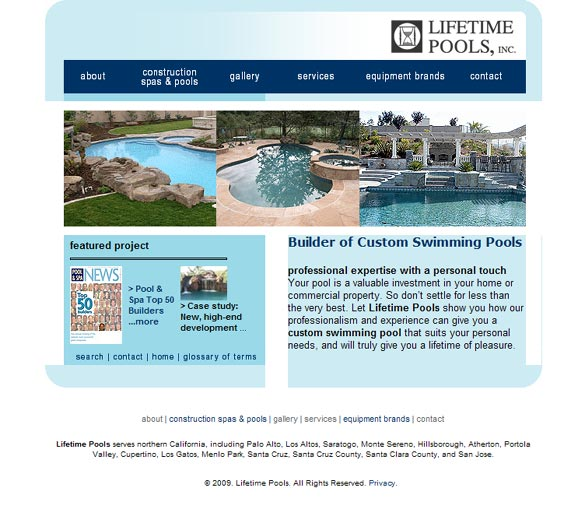 Pool Construction Website Before