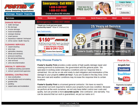 Damage Repair Company Web Design